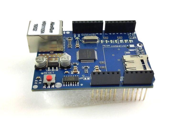Расширение Ethernet shield W5100 (вид сверху, сбоку)