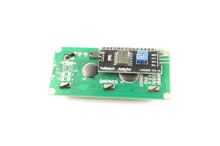 Дисплей LCD 1602A 5V с шиной IIC / I2C синий (вид сзади)