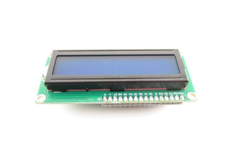 Дисплей LCD 1602A 5V с шиной IIC / I2C синий (вид сверху)