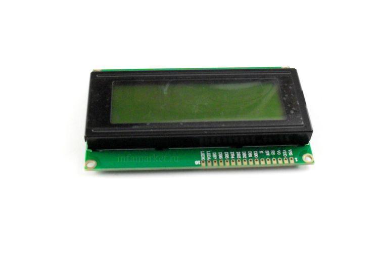 Дисплей LCD 2004 с шиной I2C зеленый (вид спереди)