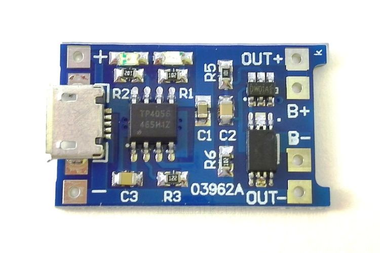 Модуль заряда Li-on на TP4056 1A c защитой USBmicro (вид сверху)