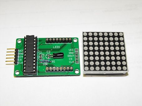 Модуль светодиодной матрицы LED 8x8 на MAX7219 5V (вид сверху)