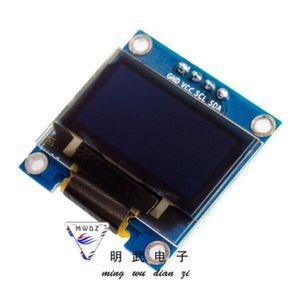 Дисплей 0,96' OLED 12864 I2C 2,2-5,5V GND VCC синий(вид сверху)