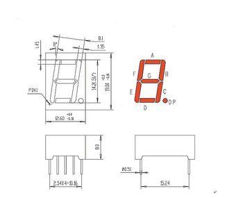 Семисегментный LED индикатор 0,56 1Х ОК красный (размеры)