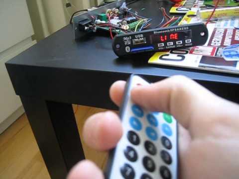 Модуль MP3 плеера ZTV-M01BT Bluetooth AUX FM 7-12V c ИК пультом (в работе)