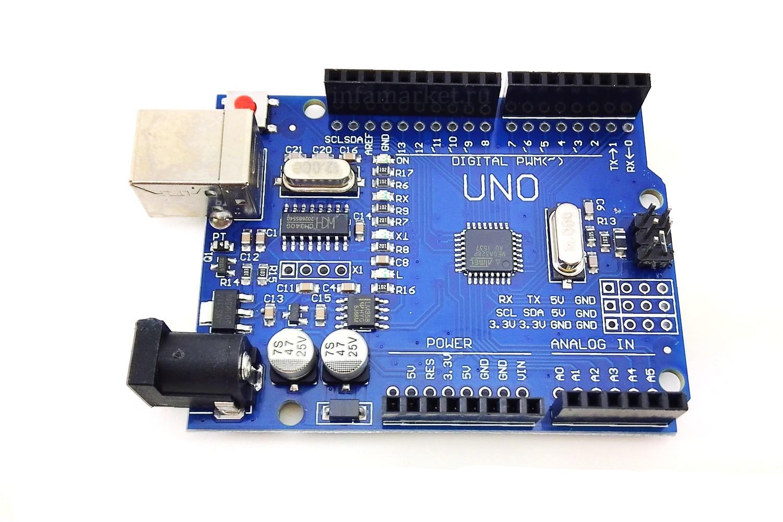 Arduino Uno R3 CH340G с кабелем  (вид сверху)