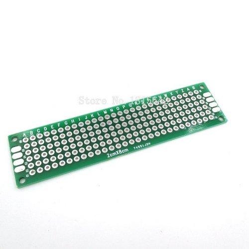 Макетная плата печатная 2 х 8 см двухсторонняя зеленая