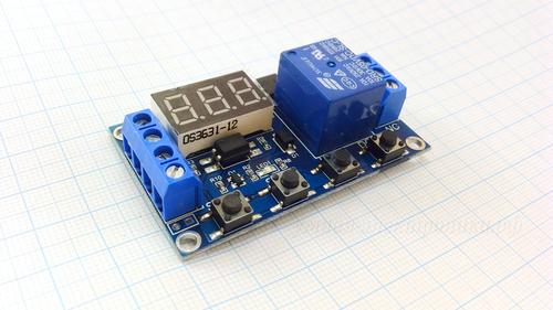 Модуль реле задержки многофункциональный XY-J02 LED microUSB 5-30V 0.1-999s 2200W