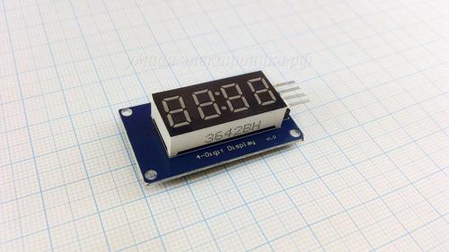 Модуль семисегментного индикатора TM1637 4 Digits Display 0,36' красный (вид спереди)
