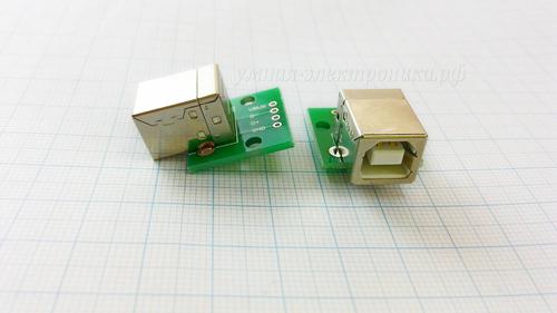 Плата печатная с гнездом USB тип B разведённым на DIP 2.54