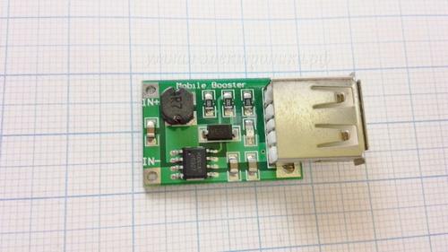 Преобразователь DC-DC UP 2.0~5V to 5V 1200mA USB CV (вид спереди сверху)