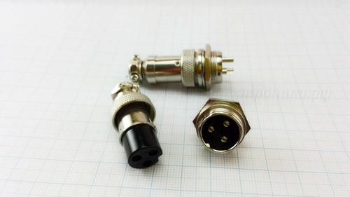 """Разъем GX16 16 мм 3 контакта 250V 20A """"розетка+вилка"""" комплект"""