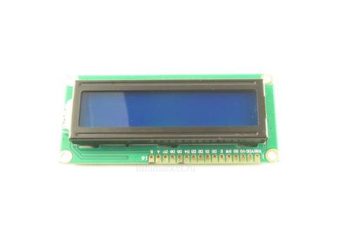 Дисплей LCD 1602A 5V синий(вид сверху спереди)