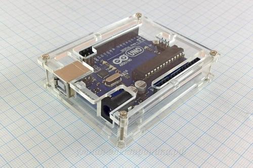 Корпус для Arduino Uno акриловый составной (вид сверху,сбоку)