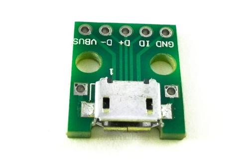 Плата печатная с гнездом microUSB 5P разведённым на DIP 2.54 (вид сверху)