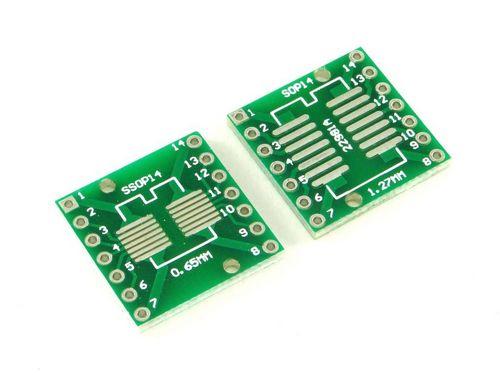 Плата SOP14 и SSOP-14, Двухсторонняя печатная плата с разводкой на DIP-14